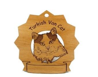 7445 Turkish Van Cat Personalized Wood Ornament