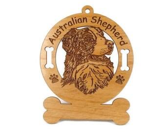 1398 Australian Shepherd Head 2 Personalized Ornament