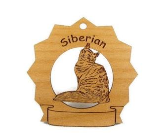 7403 Siberian Cat Personalized Wood Ornament