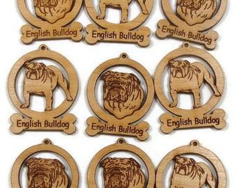 9 Mini English Bulldog Dog Ornaments
