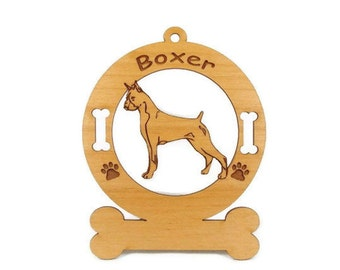 1946 Boxer Standing Personalized Wood Ornament