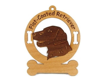 3194 Flat Coated Retriever Head Personalized Dog Ornament
