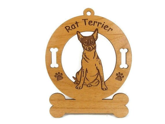 3803 Rat Terrier Sitting Personalized Dog Ornament