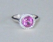 Sterling Silver PINK TOPAZ Solitaire Ring