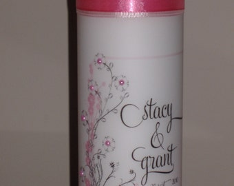 Cherry Blossom Unity Candle with CRYSTALS, Cherry Blossom Wedding