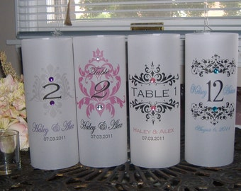 Table Number Monogrammed Luminaries with Rhinestones- Set of 14