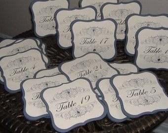 Wedding Table Numbers - Double Sided style - Set of SIX - with Rhinestones
