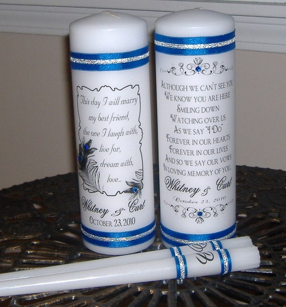 Unity and Memorial Candle Set with crystals - Peacock - Personalized