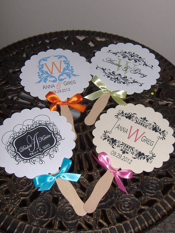 Wedding Fans with Monogram - Round set of 60