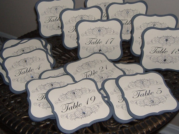 Wedding Table Numbers - Double Sided style - Set of TWENTY SIX - for LAURA