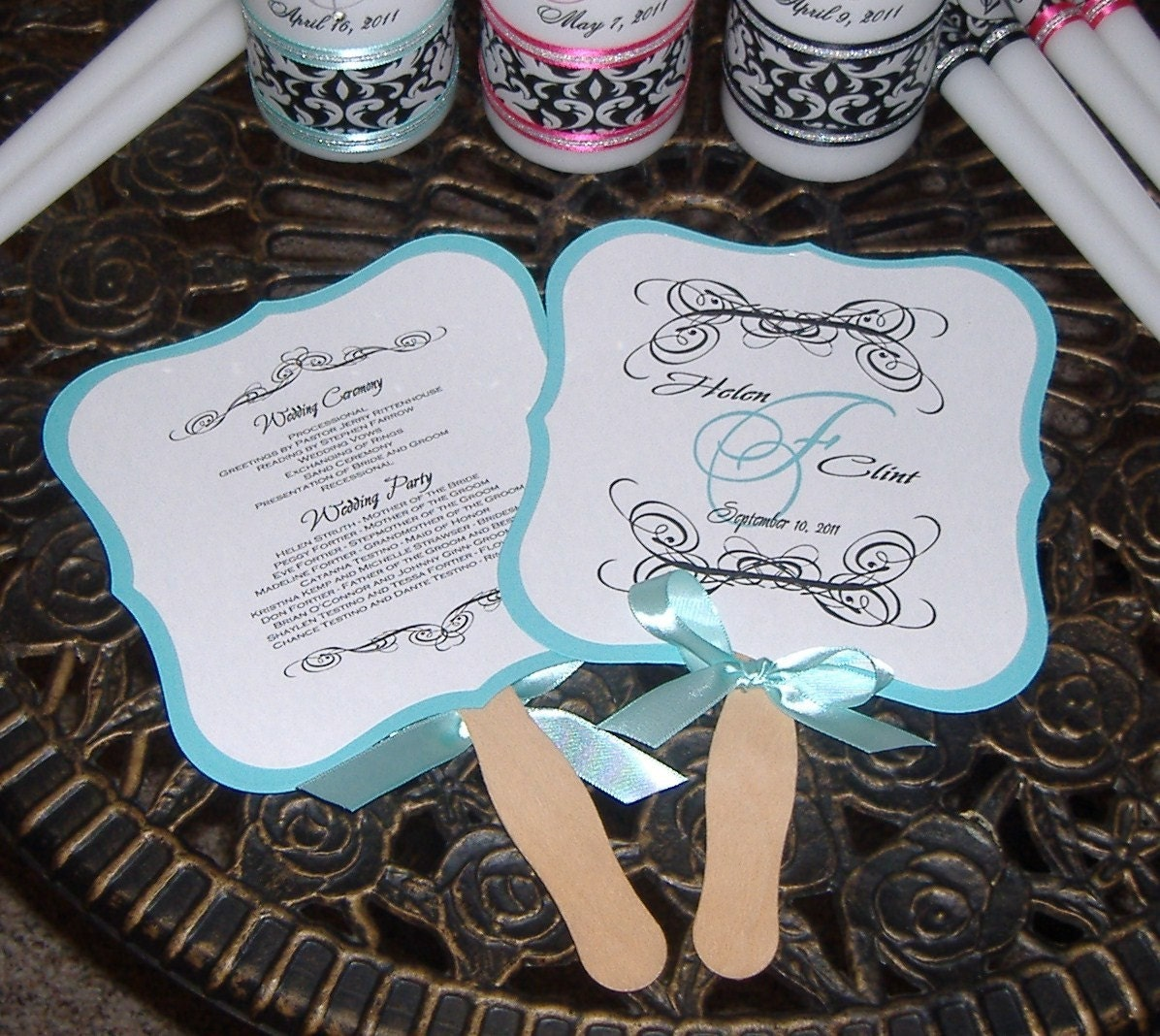 Programs: RESERVED For JENNA Wedding Fan Programs 100 Monogrammed Fans
