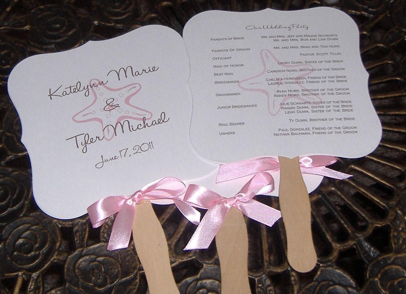 Wedding program fans custom order for crista by wreathartist