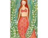 Mermaid Art - Mermaid Painting - Mermaid Wall Art - Mermaid Wooden Art Block Print - Dream Mermaid Painting - Mermaid Nursery Decor