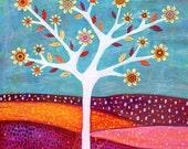 Art Print - Large Tree Art Print - Amber Tree Painting - Tree Landscape Painting - Wall Art Print - Giclee Art Print - Collage Tree Art