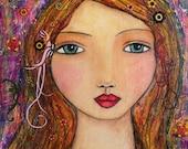 Bohemian Woman Portrait Painting Mystical Art Print Amelia