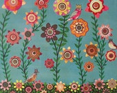 Floral Painting Pretty Retro Paper Flowers and Birds Art Print Block - Dreaming of Spring