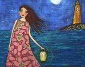 Girl Ocean Sea Lighthouse Painting Art Block Print