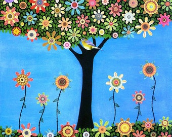 Folk Art Tree Painting, Bird Tree Collage Painting Art Print on Wood