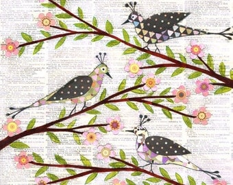 Birds and Flowers Collage Painting, Vintage Birds Paper Collage, Mixed Media Art Print on Wood