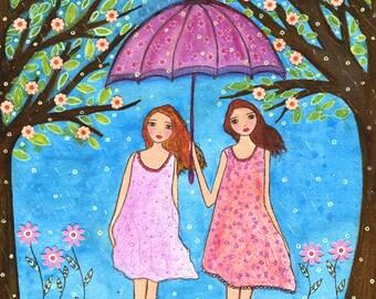 Friendship Painting, Sister Painting, Whimsical Folk Art Painting Art Print on Wood