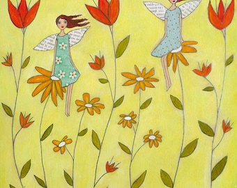 Nursery Art Nursery Decor Wall Art Flower Fairies Print on wood