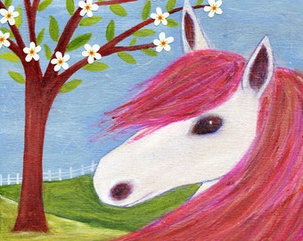 horse painting children decor animal painting nursery art print on wood - Animal Painting For Kids