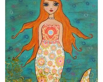 Mermaid Art Print on Wood Whimsical Mermaid Painting