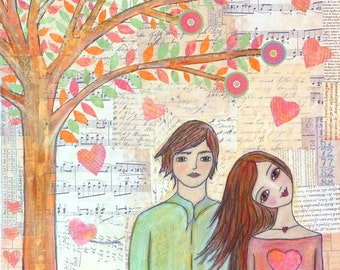 Love Art Print on Wood Boy and Girl Couple Painting