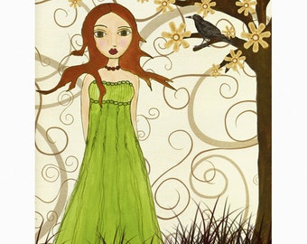 Fantasy Art Painting Girl in Green Dress with Black Crow Art Print Mounted on Wood
