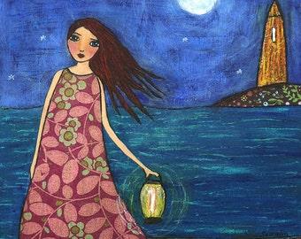 Fantasy Painting, Girl by Ocean Sea Painting Art Print on Wood