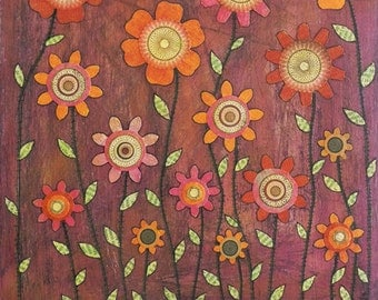 Abstract Retro Flower Painting Art Print on Wood