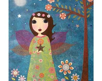 Star Fairy Painting Art Print Mounted on Wood - Fairy Tale Painting