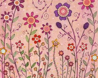Retro Flower Nursery Decor, Large Painting, Art Print, Poster Print, Baby Girl Room Decor