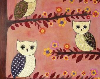 Owl Art, Children Decor,  Whimsical Owl Painting, Nursery Art Print