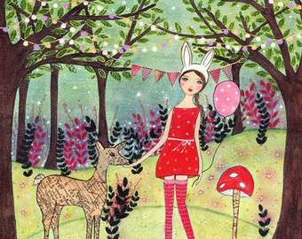 Woodland Deer and Girl Print from my Original Mixed Media Painting