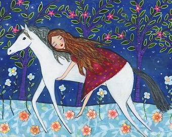 Girl and Horse Painting Fairytale Art Print by Sascalia