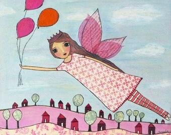 Pink Fairy Art Print, Children Decor, Girls Nursery Decor, Fantasy Art by Sascalia