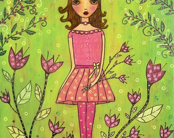 Folk Art Print, Whimsical Girl Print for Nursery Decor