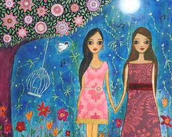 Friends are magical Art Print Dreamy Magical Painting of Two Girls with a Birdcage