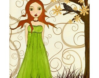 Redhead Girl Fantasy Illustration, Girl with Black Crow Bird Drawing Art Block