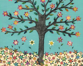 Flower Tree Landscape Painting, Mixed Media Collage Painting by Sascalia