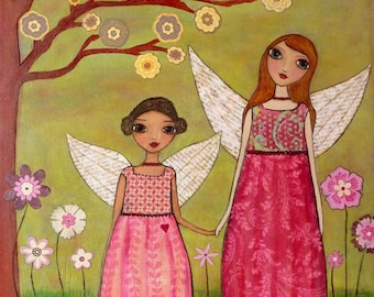 Fairy Sisters Painting Art Block Print