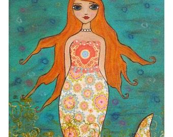 Whimsical Mermaid Collage Painting Art Block Print