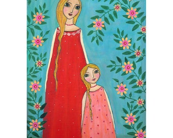 Mother and  Daughter Painting Art Print Block