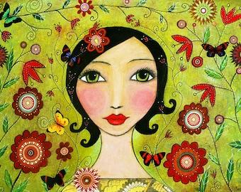 Butterflies Flowers Portrait Painting Wooden Art Block Print