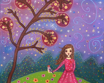 Whimsical Girl and Bird Illustration Painting Art Print Block