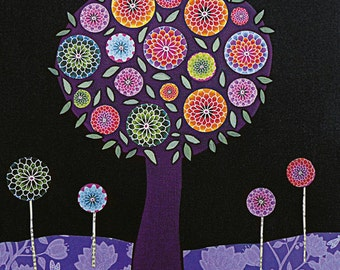 Modern Abstract Purple Flower Tree Painting Art Block Print