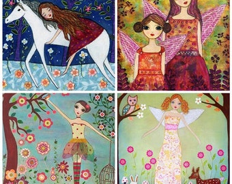 Horses Unicorns and Fairytales Painting Art Print Set Four 5 inch by 5 Inch Prints