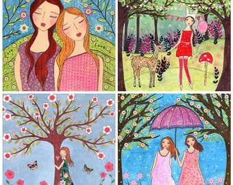 """Whimsical Art Mixed Media Girls Painting Friendship Nature and Woodland Animals Art Print Set Four 5"""" by 5"""" Prints"""