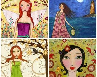 Fantasy Art Print Set Four 5 inch by 5 Inch Prints